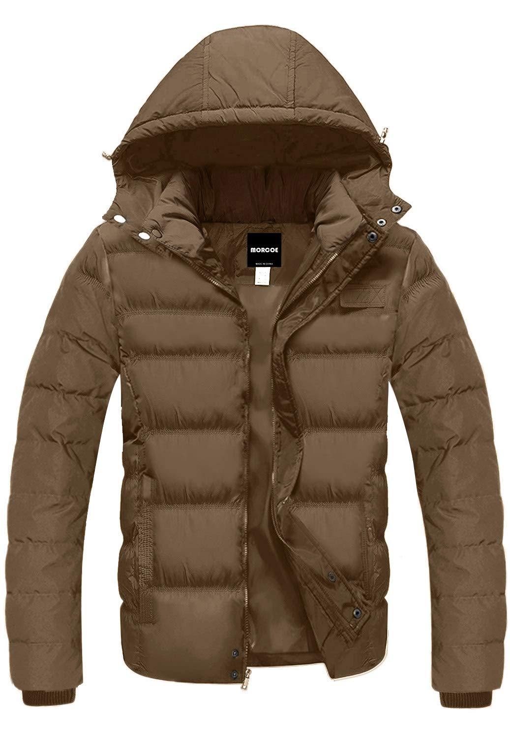 MORCOE Men's Winter Quilted Coat Outdoor Puffer Jacket Thicken Outerwear Windproof Parkas with Removable Hood