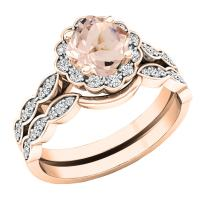 Dazzlingrock Collection 14K 5.5 MM Cushion Gemstone & Round Diamond Ladies Halo Style Engagement Ring Set, Rose Gold