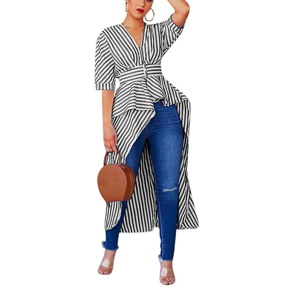 IyMoo Woman Sexy Bodycon Dress - Shirtdress for Women Shift Striped Dress Tunic Tops Short Sleeve Blouse Tops High Low Asymmetrical Irregular Hem Long Shirt Tunic Tops Black