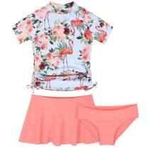 Cadocado Girls Chic 3 Pieces Rash Guard Swimwear UPF 50+ Floral Short Sleeve Swim Set