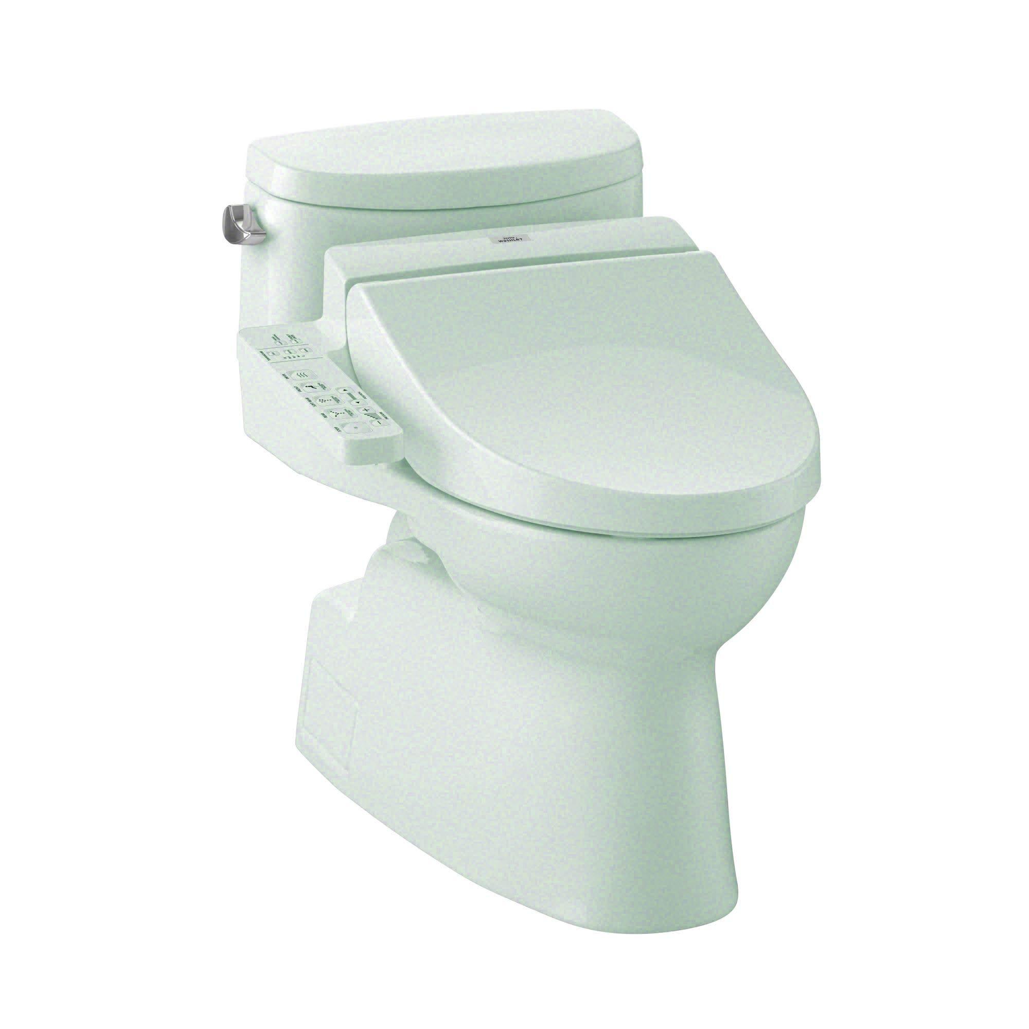 TOTO MW6442034CEFG#01 WASHLET+ Carolina II One-Piece Elongated 1.28 GPF Toilet and WASHLET C100 Bidet Seat, Cotton White