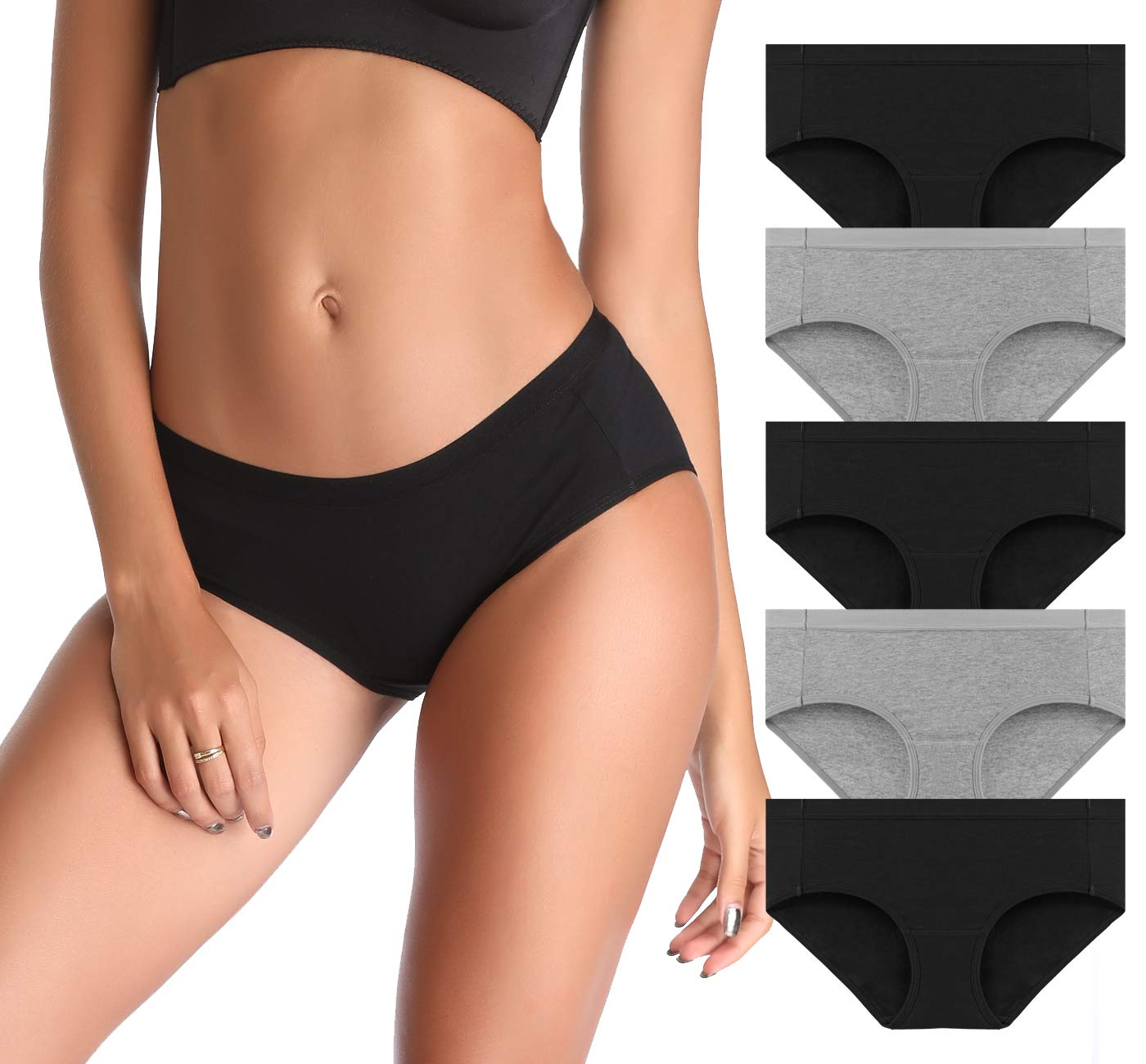 CULAYII Womens Underwear Hipster Panties,3/5 Pack Cotton Comfortable Bikinis Panty Briefs Soft Stretch Underpants Solid Color
