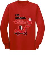 Santa I'm Digging Christmas for Boys Toddler/Kids Long Sleeve T-Shirt