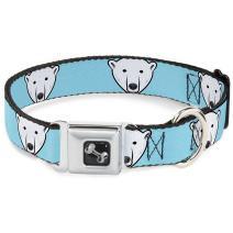 Buckle-Down Seatbelt Buckle Dog Collar - Polar Bear Repeat Baby Blue
