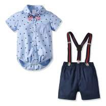 Baby Boy Clothes Newborn Boys Easter Outfits Bowtie Bodysuits and Suspenders Shorts Clothing Set