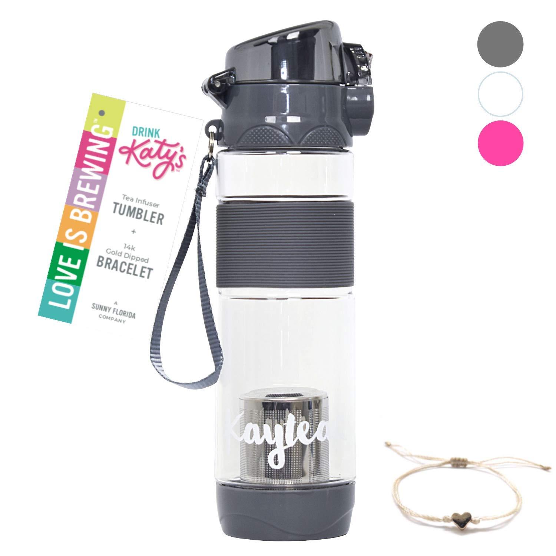 DRINK KATY'S | Tea Infuser Tumbler for Loose Leaf Tea + 14k Gold Dipped Love Bracelet | Eco Friendly Hot or Iced Tea Sport Travel Bottle - 16oz (Earl Grey)