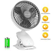 KEYNICE Clip on Fan, 5000mAh Rechargeable Battery Operated Desk Fan, Auto Oscillating Fan with 3 Speeds, Super Quiet Personal Cooling Fan for Golf Car Outdoor Activities and Sport Games