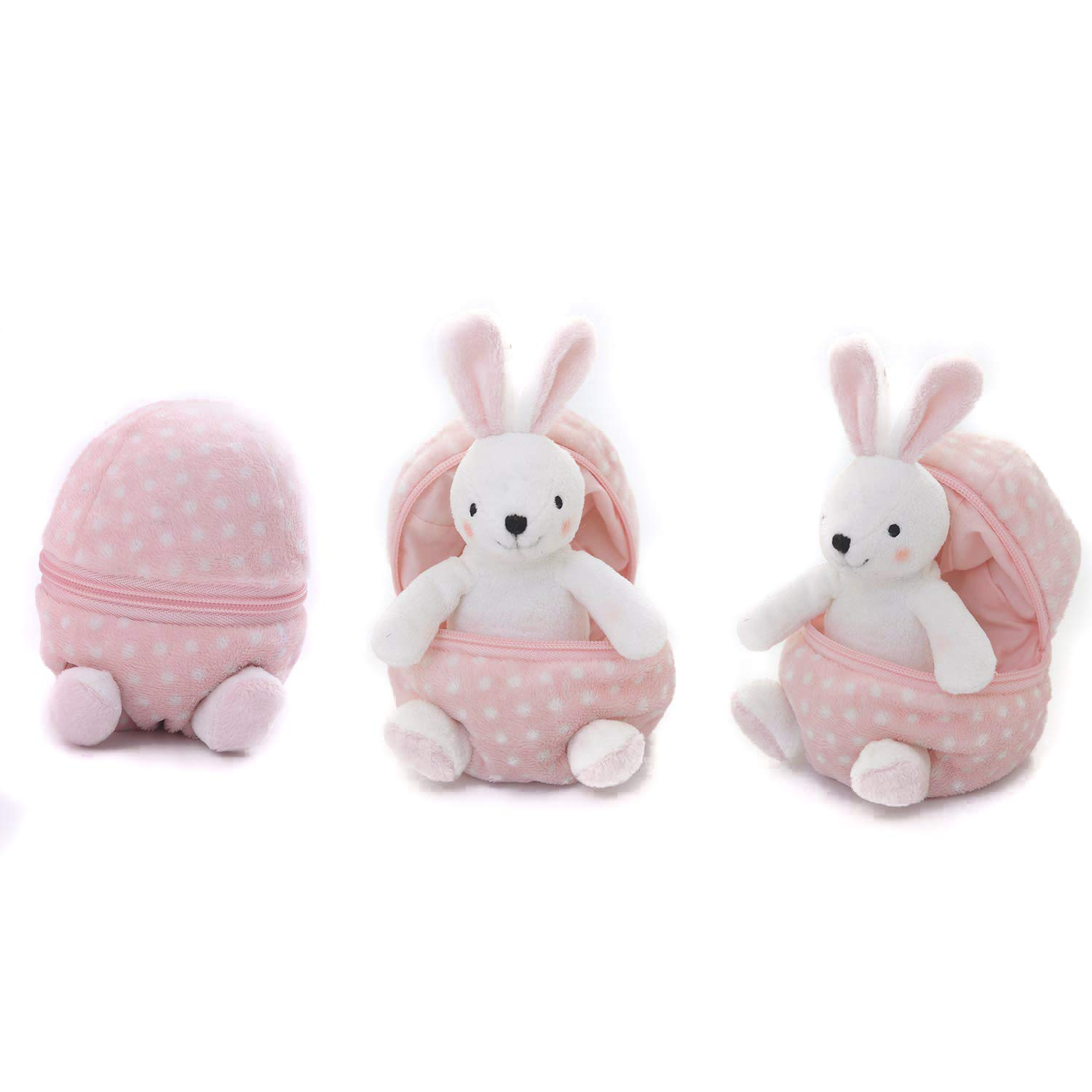 Plushland Plush Stuffed Animal 6 Inches Surprise Zip Up Egg Hideaway | Cute, Pink Pastel and Polka Dot Easter Colors | Spring Inspired Gift for Girls and Boys Birthday Mother's Day (Easter Bunny)