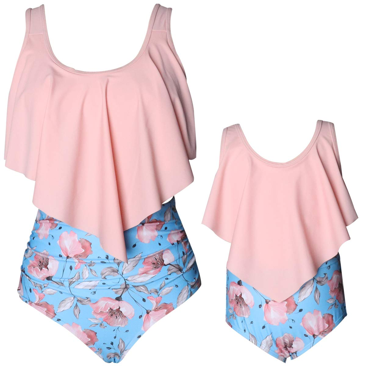 Family Matching Bikini Swimsuit One-Piece Flounce Swimsuit Vintage Printed Off Shoulder Bathing Suit Mommy and Me