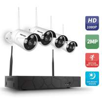 OWSOO 4CH Security CCTV Surveillance System Wireless NVR Kit 1080P 4 WiFi Camera Home Security Camera HD Monitor WiFi Home Security Night Vision P2P Motion Detection
