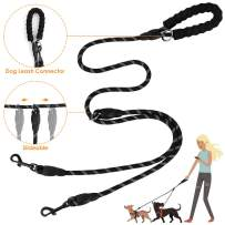 SlowTon Double Dog Leash, Heavy Duty Special Slidable Design Dual Dog Lead No Tangle 360° Swivel Dog Coupler, 5FT with Soft Padded Handle Connect to Collar for 2 Dogs Walking Training (Black)