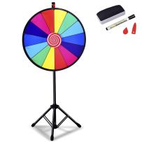 """Giantex 24"""" Spinning Prize Wheel with Adjustable Tripod Floor Stand Editable Dry Erase Color 14 Slots Tradeshow Carnival Fortune Spinning Game"""