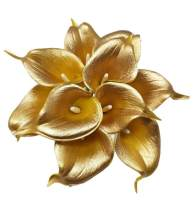 """Floral Kingdom USA 14"""" Real Touch Latex Calla Lily Bunch Artificial Spring Flowers for Home Decor, Wedding Bouquets, and centerpieces (Pack of 10) (18K Gold)"""