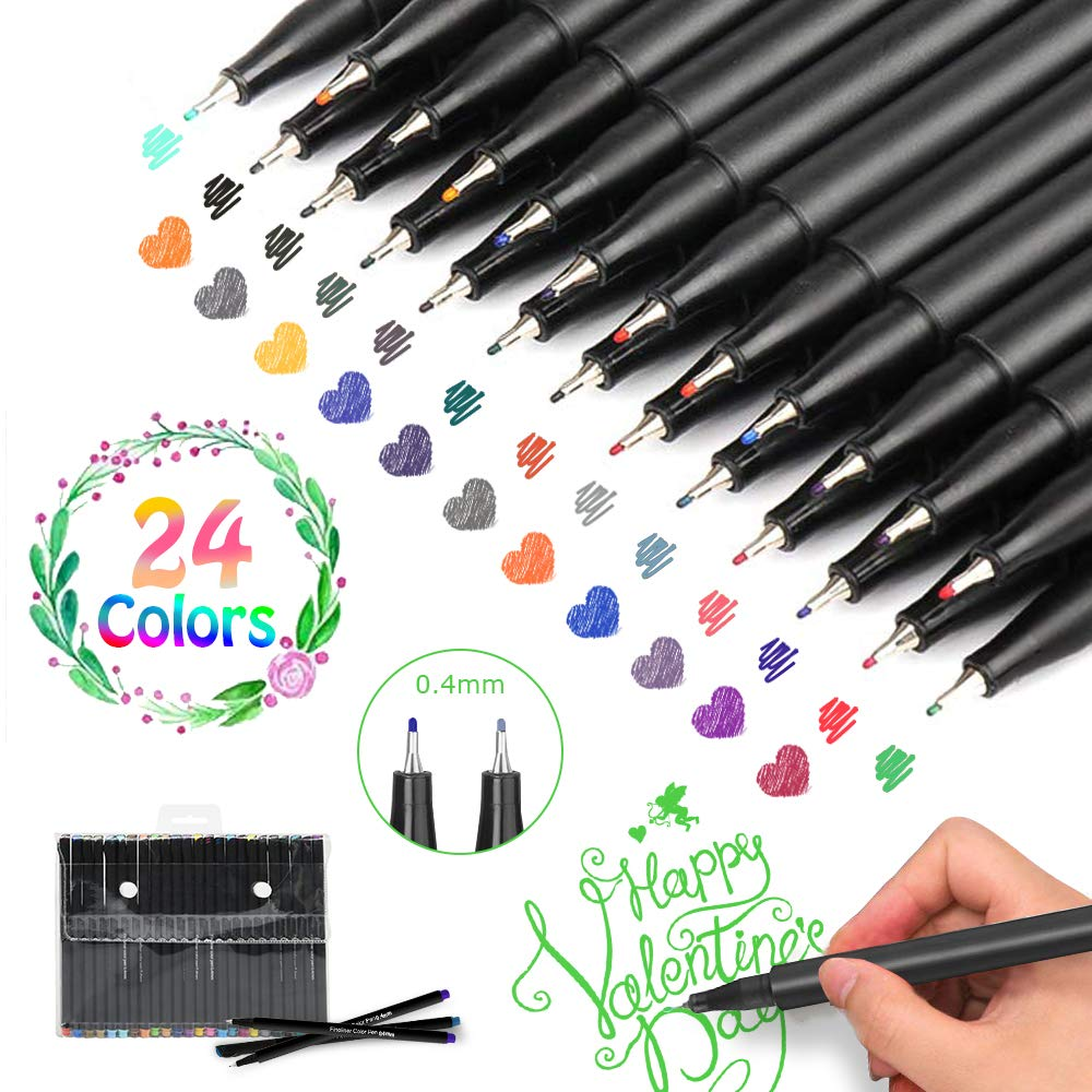 Journal Planner Pens Colored Pens Fine Point Markers Fine Tip Drawing Pens Porous Fineliner Pen for Bullet Journaling Writing Note Taking Calendar Coloring Art Office School Supplies, 24 Colors
