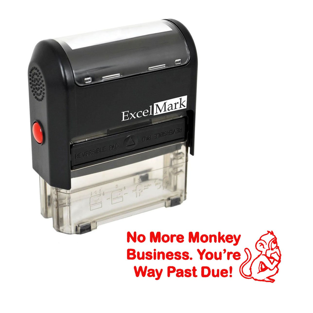 NO More Monkey Business - Self Inking Bill Collection Stamp in Red Ink