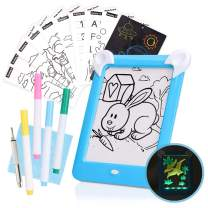Magic Glow Sketch Pad for Kids, LED Light Up Writing Tablet for Boys and Girls, Reusable Doodle Board for Toddlers with 4 Erasable Markers and Patterns
