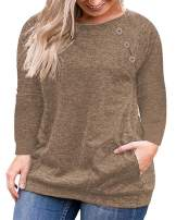 VISLILY Women's Plus Size Tops Long Sleeve Buttons Casual Shirt with Pockets