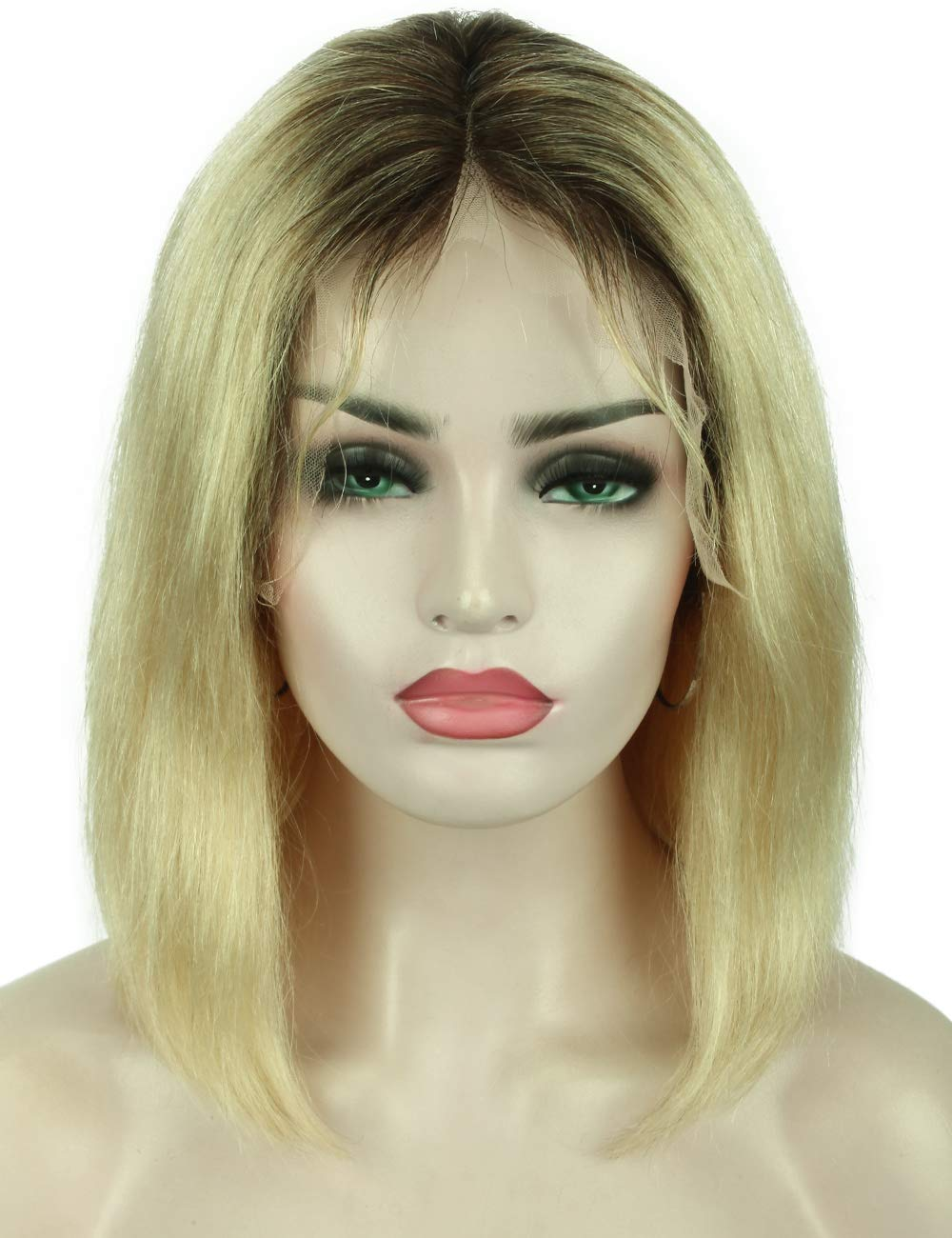 Beauart 13x6 Lace Front Wigs Human Hair Ombre Blonde Short Bob Wigs with Pre Plucked Hairline Free Parting Brazilian Human Hair Wigs with Baby Hair for White Women