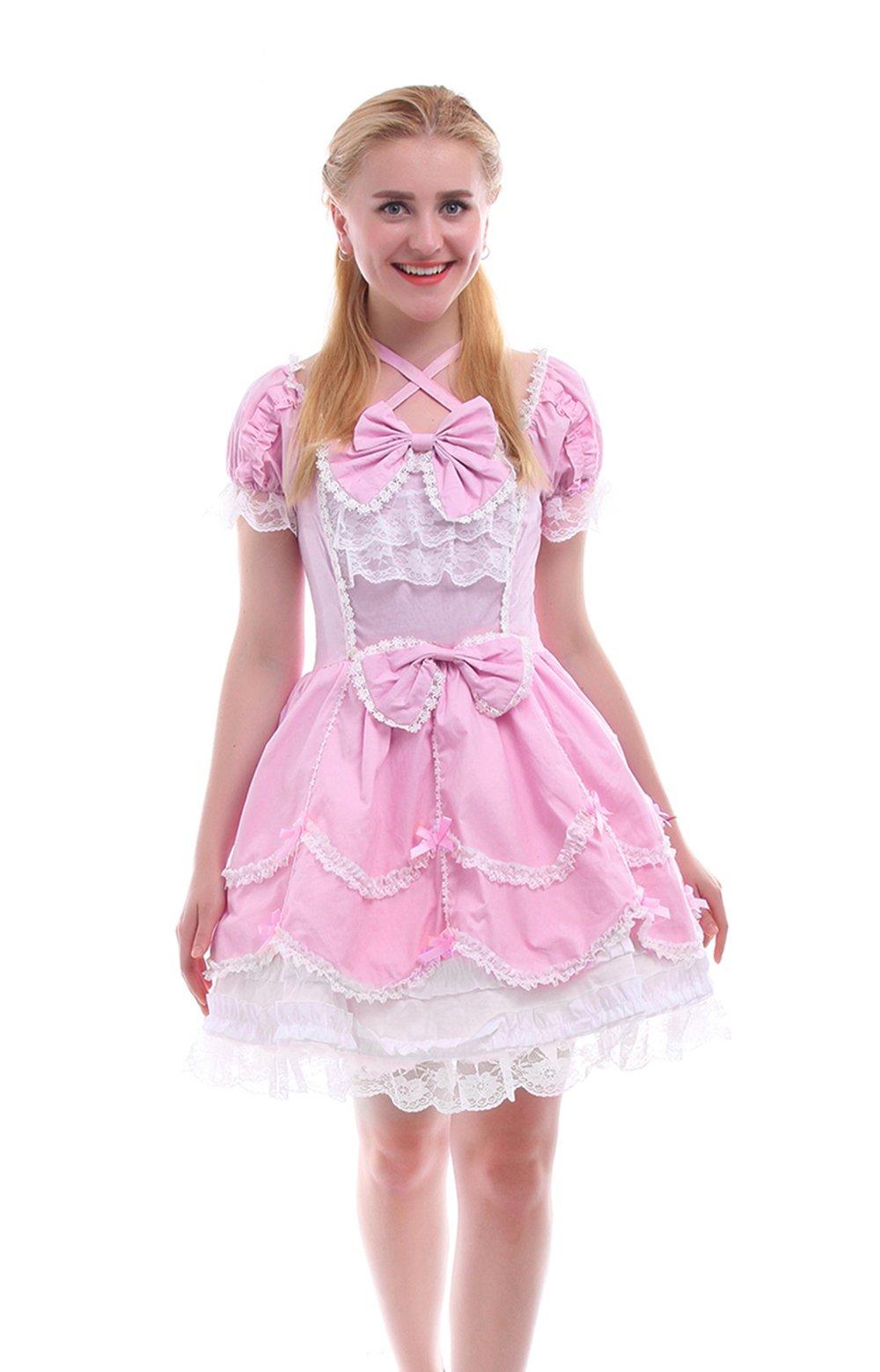 Nuoqi Girls Lolita Gothic Dress Princess Layers Evening Party Blue Dress