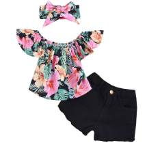 3Pcs Toddler Baby Girl Clothes Floral Ruffle Off Shoulder Tops and Jeans/Denim Pant with Headband Outfits