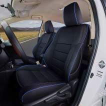 EKR Custom Fit Full Set Car Seat Covers for Select Toyota Corolla L LE LE Eco XLE Sedan 2014 2015 2016 2017 2018 2019 - Leatherette (Black with Blue Trim)