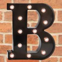 Pooqla Light Up LED Letter Marquee Sign - Alphabet Marquee Letters with Lights for Wedding Birthday Party Christmas Night Light Lamp Home Bar Decoration B, Black