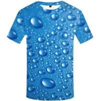 KYKU Men's Blue Water Drops All Over 3D Print Graphics Crewneck Short Sleeve Shirt
