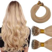 Nano Tip Remy Hair Extensions Nano Ring Human Hair Extensions Cold Fushion Tipped Real Hair Micro Beads Links Hairpiece Full Head Brazilian Hair For Women 16inch 50g/PACK 50 Strands #24 Natural Blonde