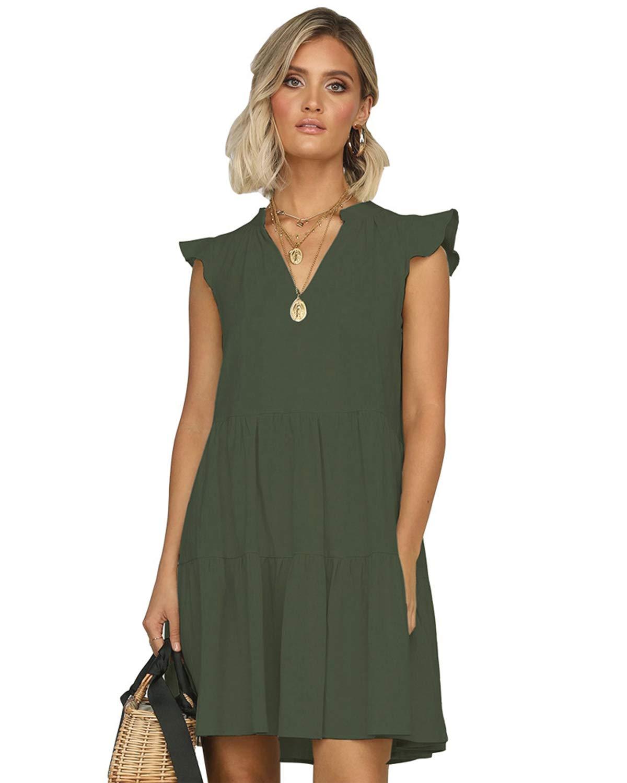 LANISEN Womens Casual Summer Short Ruffle Sleeve Babydoll Loose Swing Mini Dress V Neck Solid Tunic Shift Dress