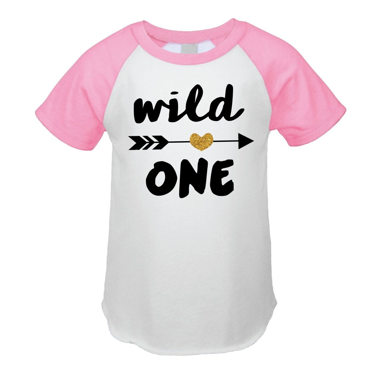 Wild One Girl First Birthday Outfit Girl One Year Old T-Shirt (18 Months Pink Raglan)