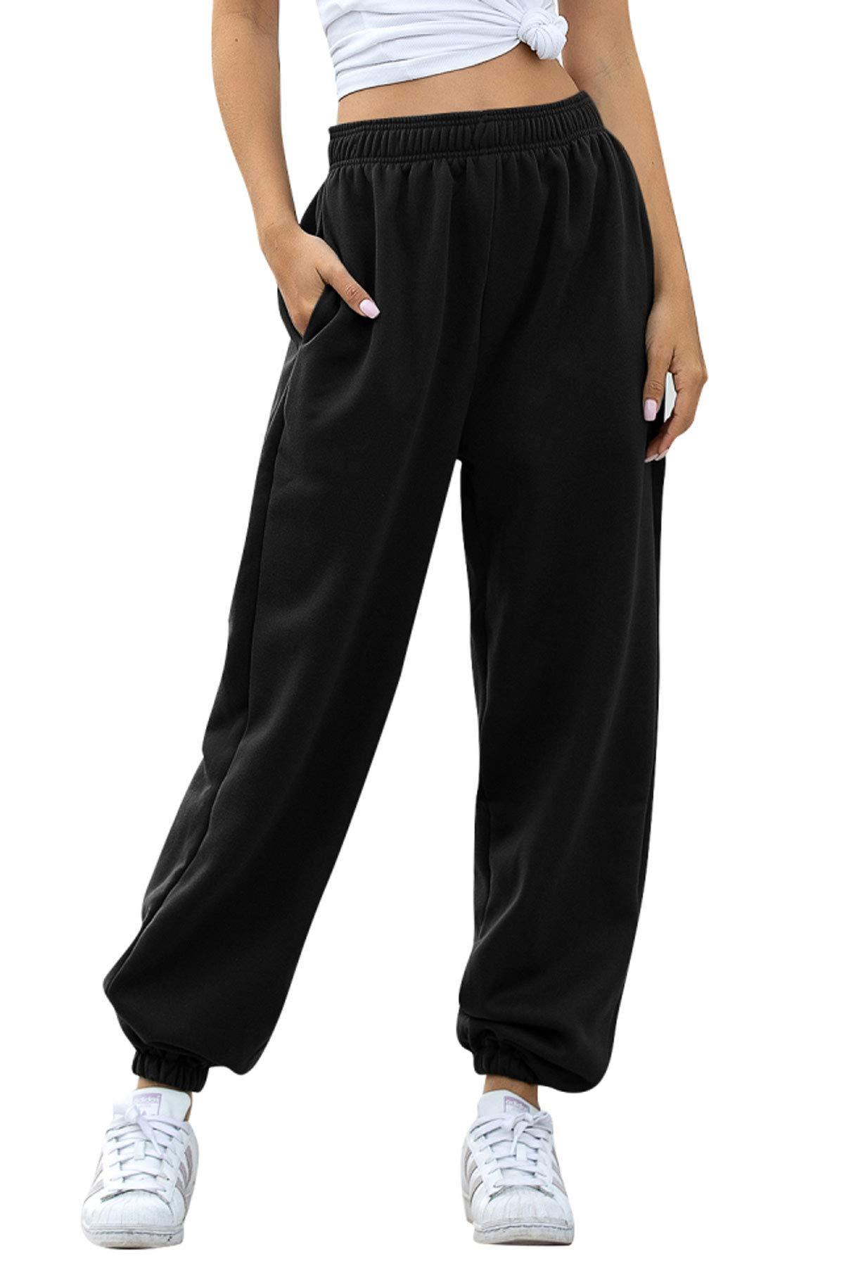 Amormio Women's Active Elastic Waist Cotton-Blend Baggy Workout Sweatpants Joggers Lounge Pants Sportswear
