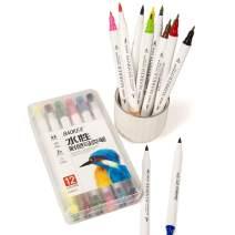 BAOKE Colored Calligraphy Pen, Drawing Pen, Art Dual Tip Brush Fine Tip Paint Marker Set for Adults D289 (12 Colors)