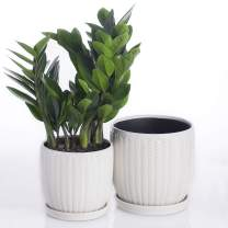 """Voeveca Ceramic Flower Pot Garden Planters 6.5"""" and 5.5"""" Set of 2 Indoor Outdoor, Modern Nordic Style Plant Containers (White)…"""