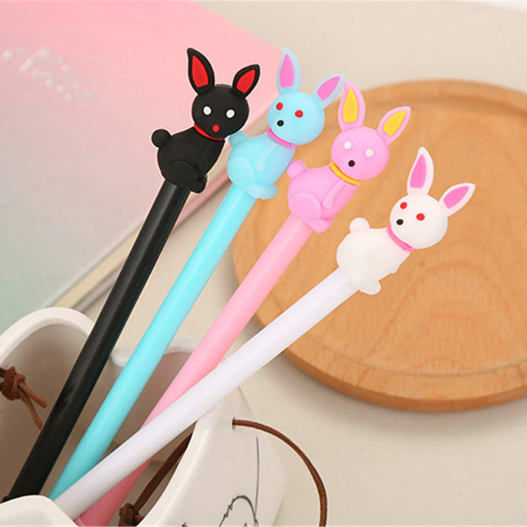 WIN-MARKET Animal Cute Rabbit Gel Ink Pen Cute Kawaii Black Writing Pens Ballpoint Black Ink Gel Pen Party Gift Gel Ink Pens Funny School Stationery Office Supplies(6PCS)