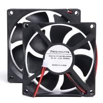 80mm Computer CPU Case Fan - PANOMOUNTS CF8025 High Speed 24V 80mm 25mm 2Pin PC Exhaust Muffin Fan Low Noise 3500RPM 2-Pack