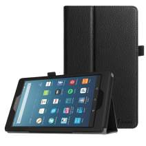Fintie Folio Case for All-New Amazon Fire HD 8 Tablet (Compatible with 7th and 8th Generation Tablets, 2017 and 2018 Releases) - Slim Fit Premium Vegan Leather Standing Protective Cover, Black