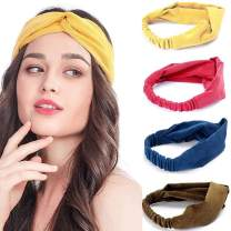 Brishow Boho Headband Retro Pure Colour Style Head Wrap Scarf Stretchy Moisture Cross Hair Band Accessories for Women and Girls (4 PCS)
