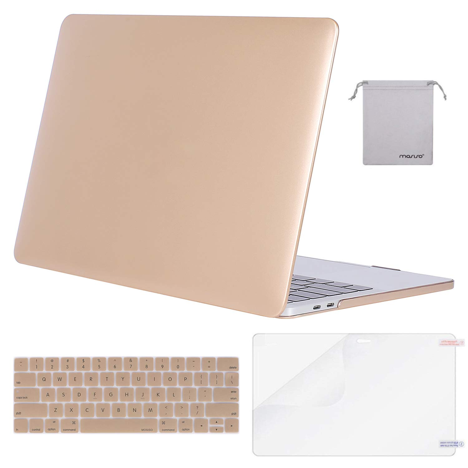 MOSISO MacBook Pro 15 inch Case 2019 2018 2017 2016 Release A1990 A1707, Plastic Hard Shell Case&Keyboard Cover&Screen Protector&Storage Bag Compatible with MacBook Pro 15 Touch Bar, Gold