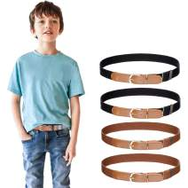 Kids Boys Girls Elastic Belt - Stretch Adjustable Belt for Boys and Girls with Leather Loop Belt Pack of 4 By Kajeer
