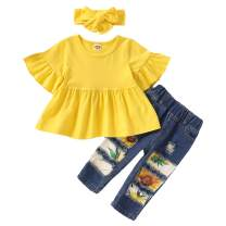 SANMIO Toddler Baby Girl Clothes Outfits, Cute Baby Girl Floral Long Sleeve Jeans Pant Set Ruffle Outfits for Fall