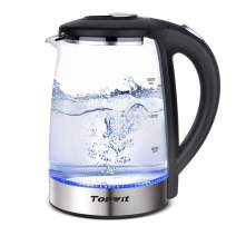 Topwit Electric Kettle Glass Hot Water Kettle, Upgraded, 2L Water Warmer Cordless, Stainless Steel Lid & Bottom, Tea Kettle with Fast Heating, Auto Shut-Off & Boil Dry Protection