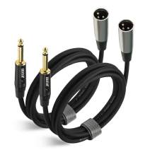 EBXYA XLR Male to 1/4 Inch TS Mono Unbalanced Cable 6 Ft 2 Packs