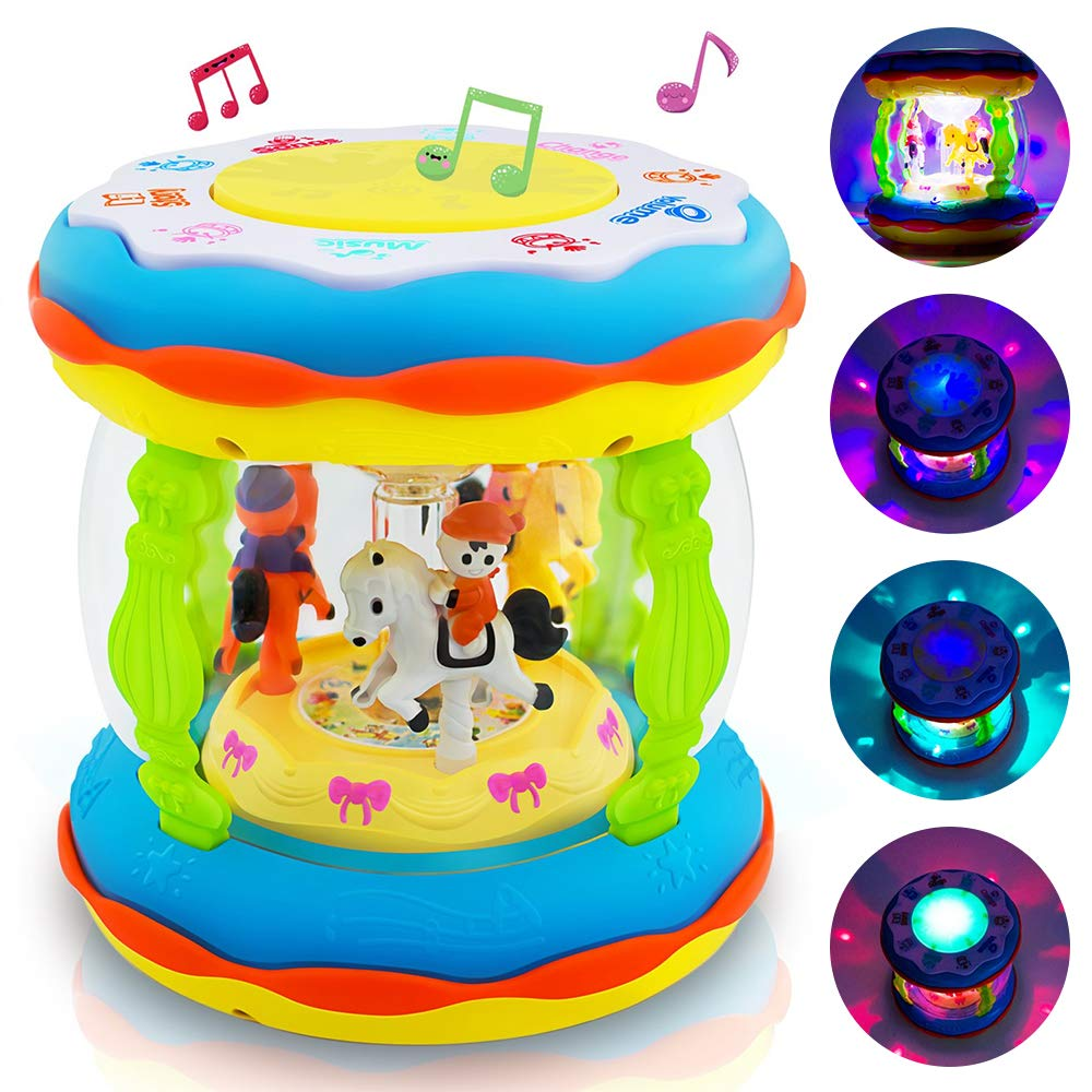Infants and Kids Musical and Educational Toys for 1 2 3 4 5 Year Old Boys and Girls Babies and Toddlers Musical Drum Toys with Lights