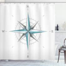 "Ambesonne Compass Shower Curtain, Antique Wind Rose Diagram for Cardinal Directions Axis of Earth Illustration, Cloth Fabric Bathroom Decor Set with Hooks, 70"" Long, Teal Dimgray"