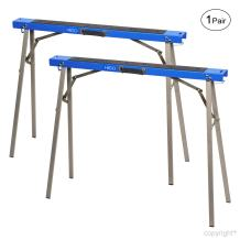 HICO 2-Pack Sawhorse Folding Metal Stands Mobile Bases Brackets Heavy Duty Fully Assembled Foldable Legs Twin Pack, Support 330lb, 32-Inch Tall, Pair
