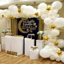 BONROPIN Balloon Garland & Arch Kit | 139 pcs 16 ft Star balloons & confetti balloons & white balloons| Party Supplies Decorations for Wedding Birthday Baby Shower Graduation Anniversary Organic Party