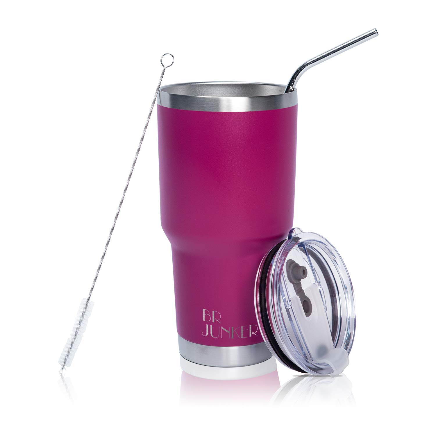 30 oz. Tumbler Double Wall Stainless Steel Vacuum Insulation Travel Mug with Crystal Clear Lid and Straw, Water Coffee Cup for Home,Office,School, Ice Drink, Hot Beverage,Fuchsia