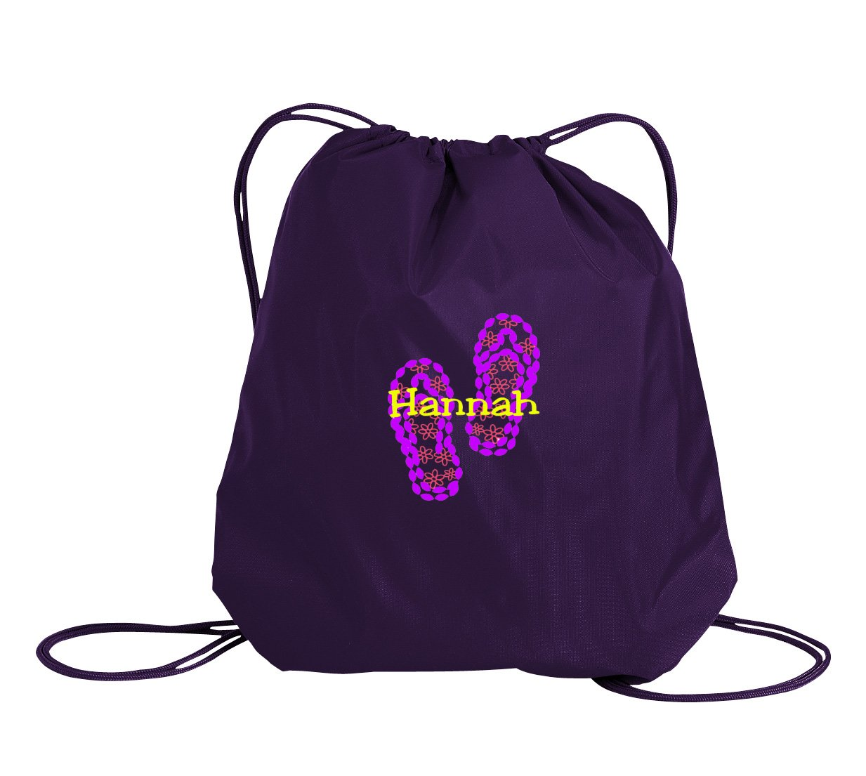 all about me company Flip Flop Personalized - Drawstring Sack Cinch Backpack (Purple)