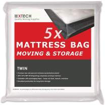 Xtech 5 Twin Mattress Bags for Moving, Disposal Sealable Plastic Matress Bed Protection Storage Cover Bag Covers