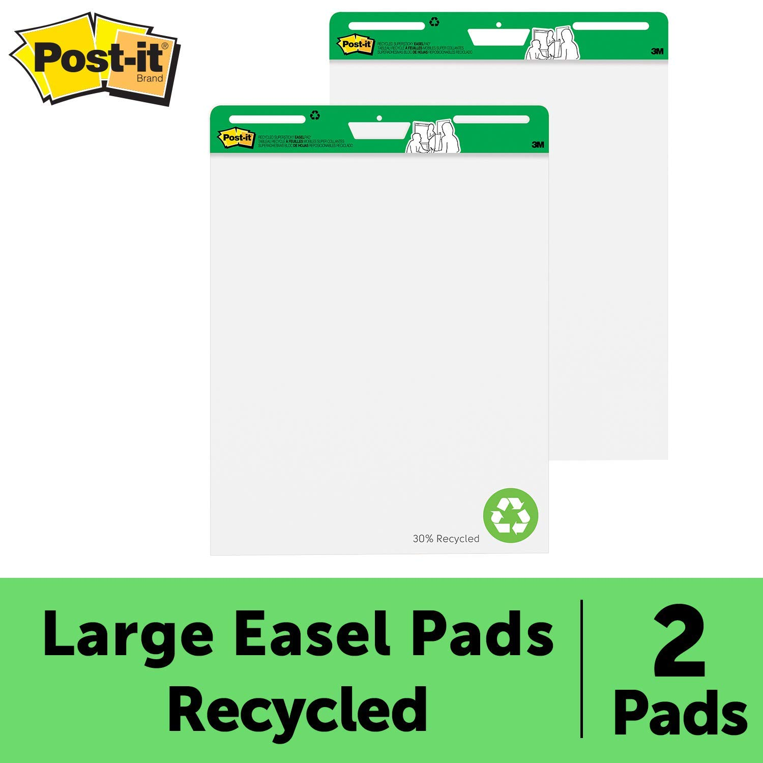 Post-it Super Sticky Easel Pad, 25 x 30 Inches, 30 Sheets/Pad, 2 Pads (559RP), Large White Recycled Premium Self Stick Flip Chart Paper, Super Sticking Power